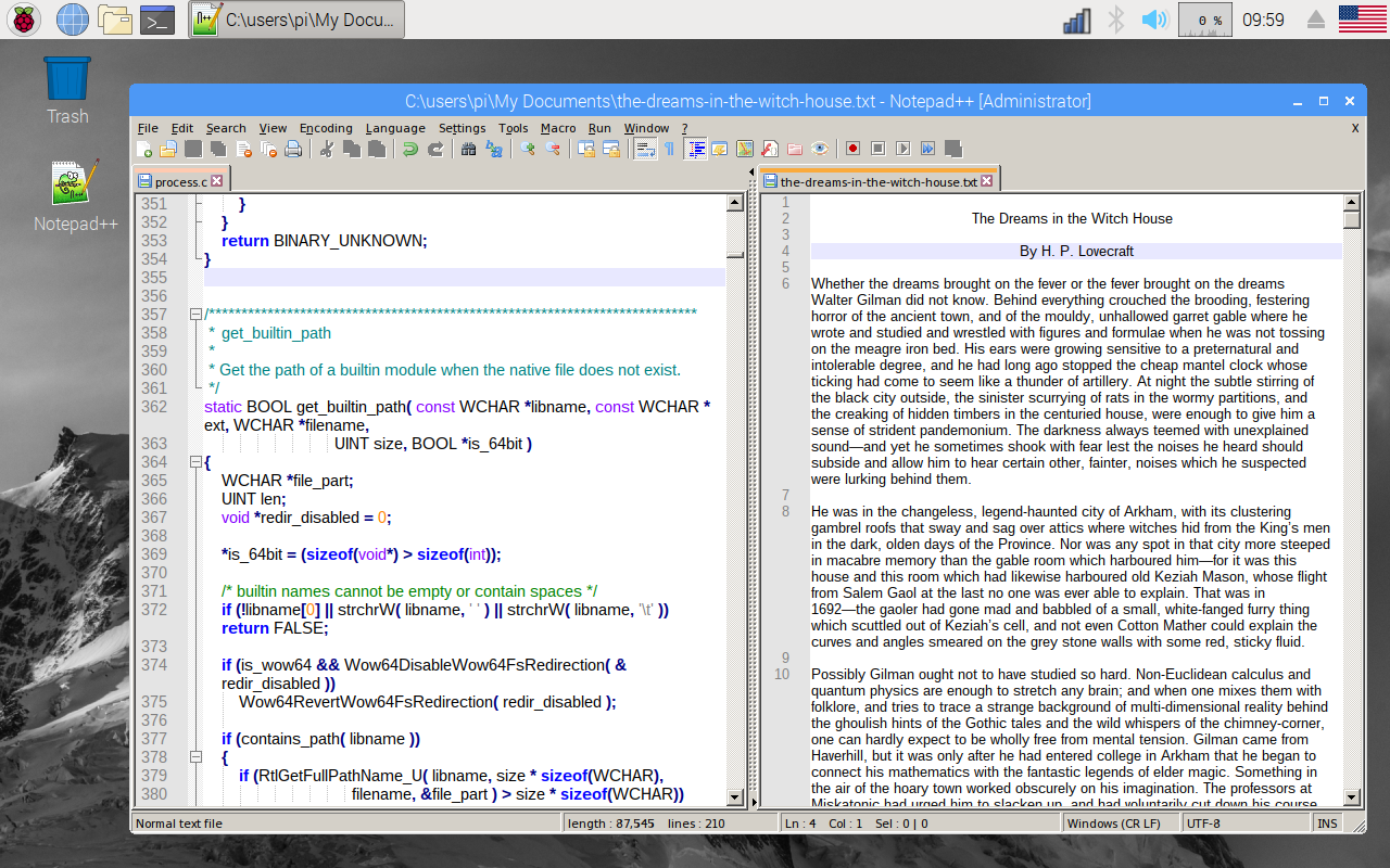 Notepad++ running on the Raspberry Pi