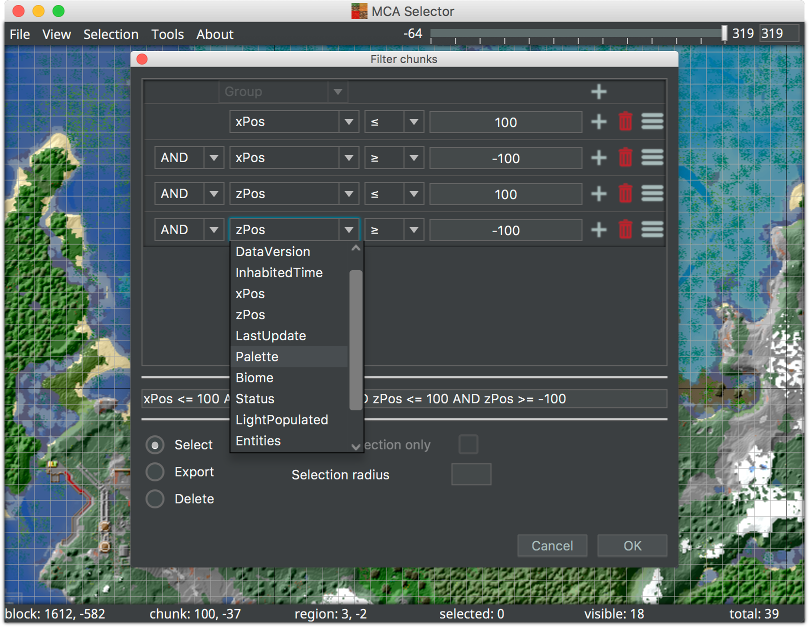 MCA Selector window showing the chunk filter