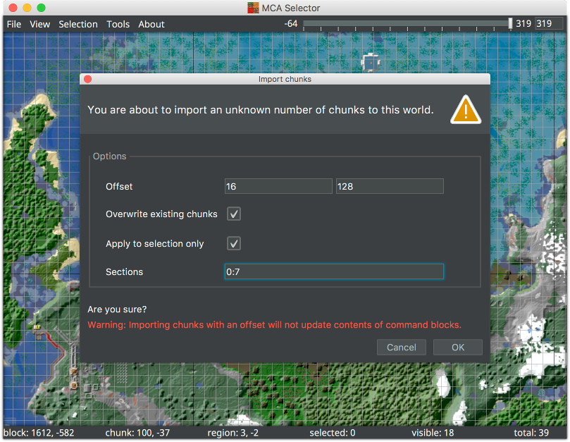 MCA Selector window showing the chunk import