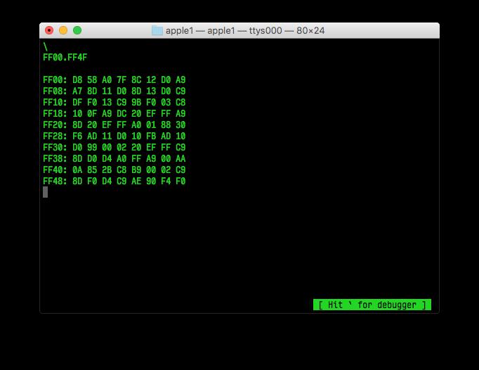 Screenshot of the Woz Monitor