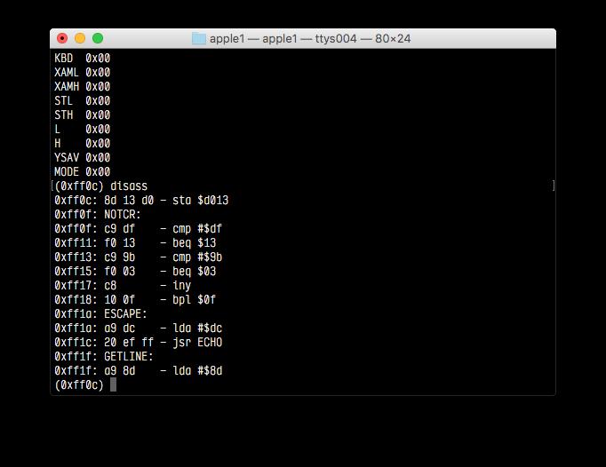 Screenshot of the debugger