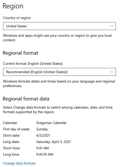 Updated Region Settings - Problem Machine
