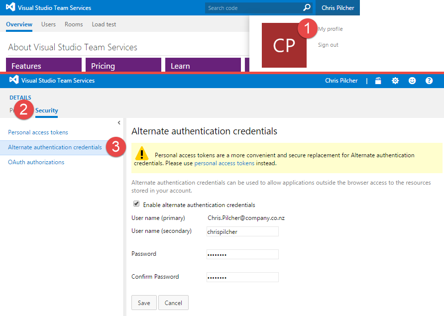 alternate authentication credentials screenshot