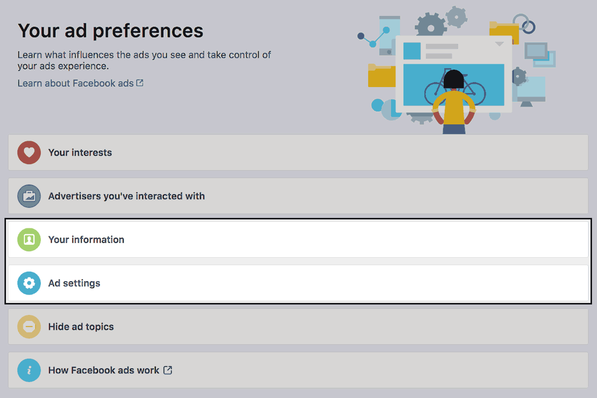 FB advert preferences overview
