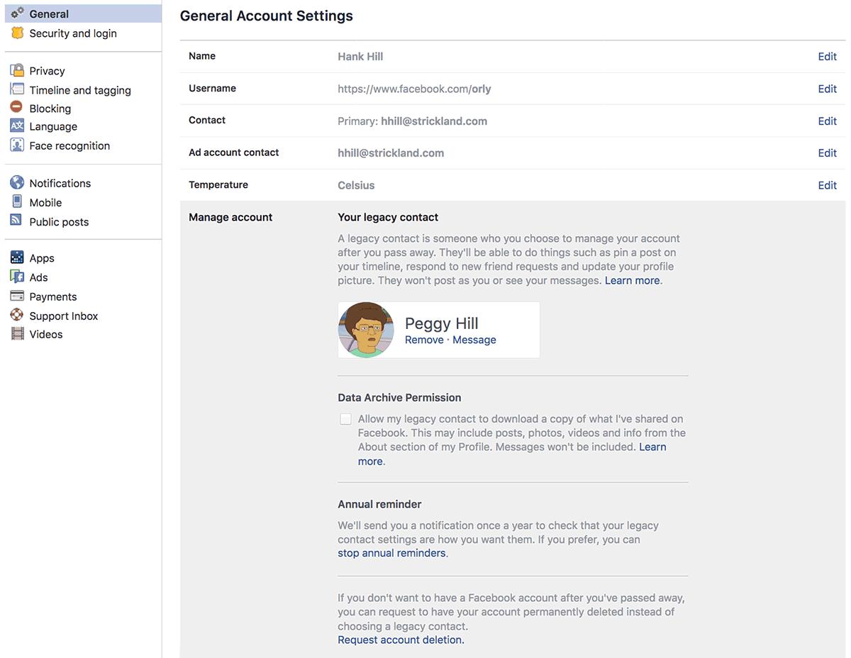 Facebook legacy contact settings