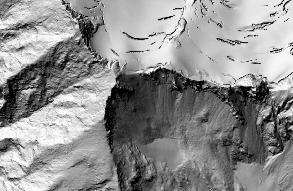 LiDAR map of Clark Mountain area, showing glaciers and streams