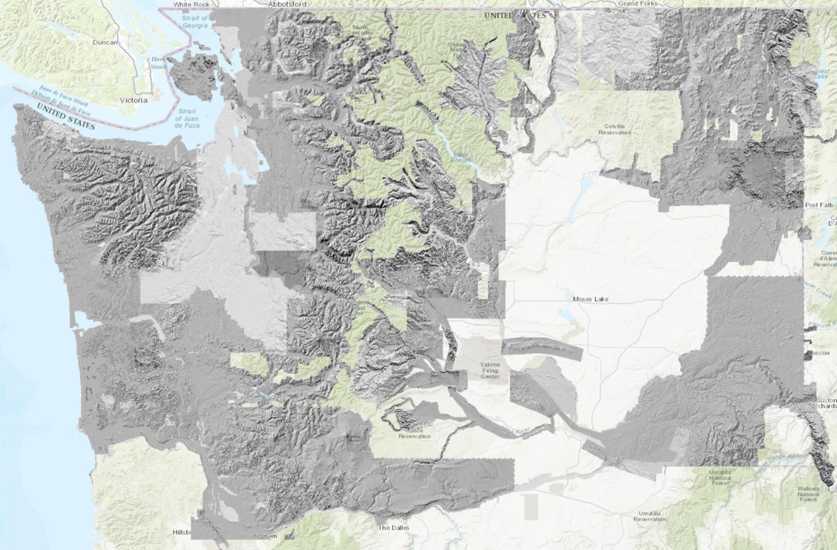 Map showing statewide coverage of LiDAR data in Washington