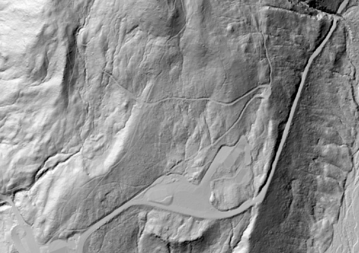 LiDAR map of Paradise in Mount Rainier National Park, showing roads, parking lot and hiking trails