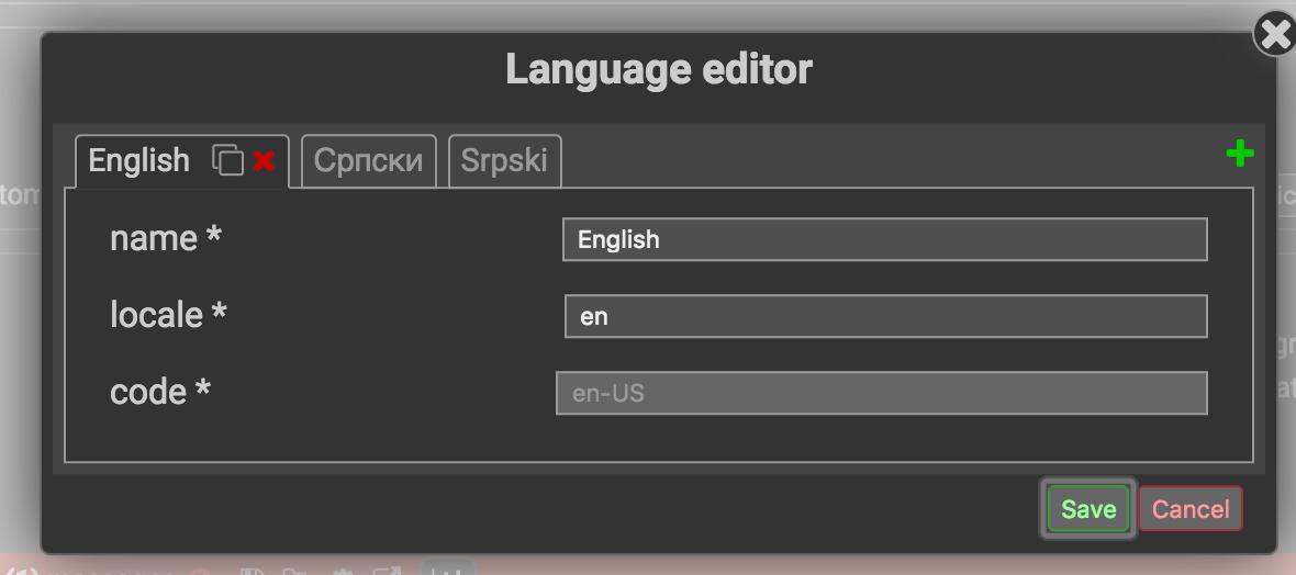 Modal language editor