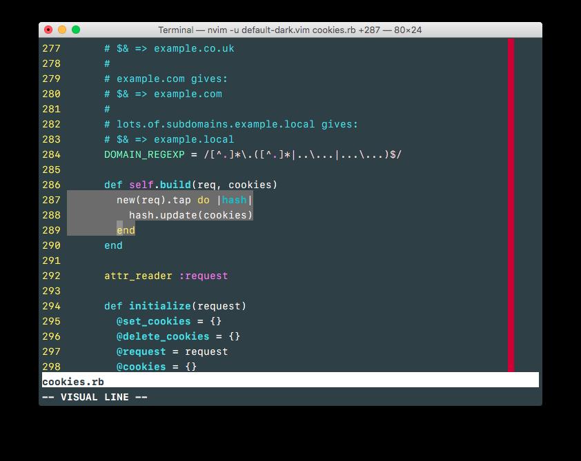 appsignal dark with Vim's default color scheme