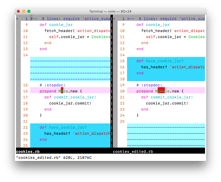 Diff coloring in Vim's default color scheme