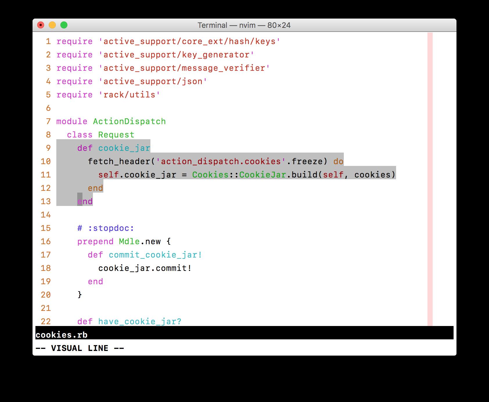 Selections in Vim's default color scheme