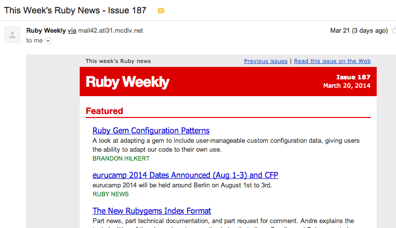 ruby weekly