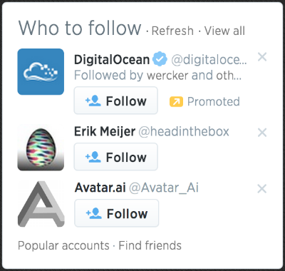 Twitter Who to follow suggestions box